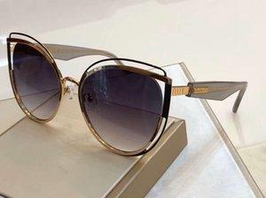 المرأة القط نظارات العين 1095 ذهب إطار التدرج العدسات دخان 56 ملم gafas دي سول UV400 حماية أعلى جودة مع صندوق
