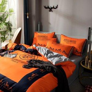 Literie d'Orange Black Horse Cover Costume Set Reine en coton imprimé animal Literie double Lit simple housse de couette plat Feuille Taie Costume