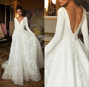 Boho Modernas mangas compridas Rendas Vestidos de noiva 2020 Betra V Neck Backless Beach Vestidos de Noiva Vestido de Novia com Botão Coberto