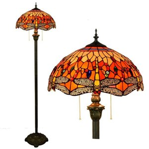 Tiffany libélula lámpara europea Stained Glass Floor Lamp Hotel Sala mano soldada Arte Lámpara TF016