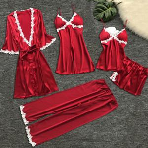 5 Adet Kadınlar Sexy Lingerie Robe Abiye Pijama Set Dantel Çiçek Kimono Elbise Babydoll Gecelik Pijama Şort Pantolon Pijama Set