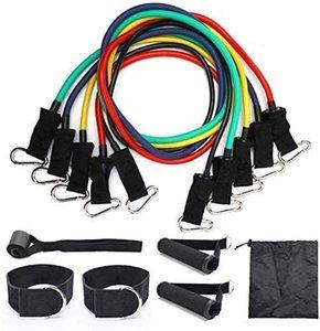 Widerstand-Bänder Set, Übungsbänder mit Tür-Anker, Griffe, Wasserdicht Tragetasche, Beine Ankle Straps für Resistance Physical Training