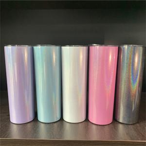 20 oz flaco del vaso de acero inoxidable brillo Vino vaso vacío Taza de la chispa aislada taza del viaje taza de cerveza del vaso Shimmer arco iris A03