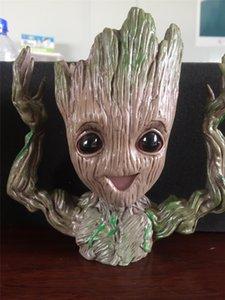 Guardianes de la figura de acción Galaxy maceta Hombre del árbol del bebé Groot envase de la pluma de la muñeca Modelo Juguetes El Vengador pluma Tiesto ollas cepillo venta