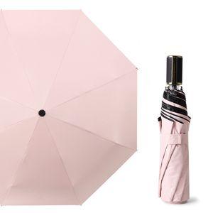 Fabrika 8 Kemik Siyah Tutkal Şemsiye Ms Öğrenci Çocuk Anti-UV Güneşli ve Umbrella RainyThree-katlama
