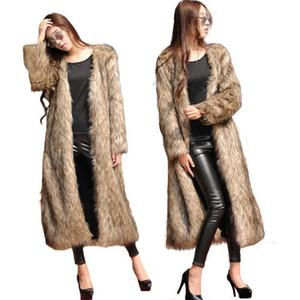 Для женщин пальто зимы шерсти Faux Сплошные цвета шерсти Пушистый руно с длинным рукавом Furry пальто Повседневный Азиатский размер S-6XL