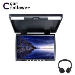 15.4 인치 지붕 마운트 플립 1024 * 760 TFT LCD 모니터 MP5 IR 송신기 조정보기 화면 돔 LED 라이트 자동차 TV 다운