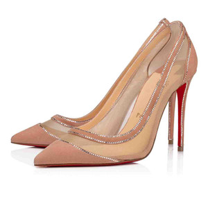 Ladies Tacones altos Galativi Strass Strass Bottom Bomba Roja Negro Desnudo Mujeres Vestido de novia Zapatos de boda Vestido de fiesta Super Calidad EU35-43