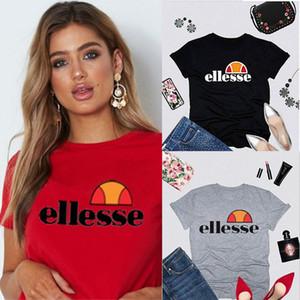Ellesse Kadın Tasarımcı T Shirt% 100 Pamuk Siyah Beyaz Gri Kırmızı Sarı Moda Mürettebat Boyun mektup baskılı T-Shirt Kısa Kollu XS-3XL