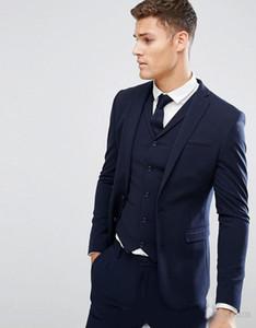Дешевые темно-синие мужские костюмы Slim Fit Groomsmen Свадебные смокинги для мужчин Peaked Lackl Fashion Back Vent Формальный костюм (куртка + жилет + брюки)