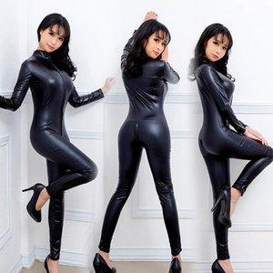 Kadın şekillendirme Seksi Kadınlar Bodysuits Patent Deri Oyunu Üniforma Siyah Islak Bak Snake Tulum Lateks Gece Kulübü Kostümleri