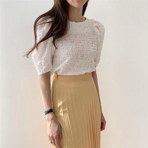 HziriP İnce Yaz Gömlek Nazik Gevşek Kısa Kollu 2020 Bluzlar Chic Moda Elegance Temel Boş Yeni Kadınlar All-Match