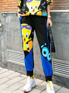Spring loose pants women 2020 graffiti sweatpants oversized hip hop streetwear sequins trousers cartoon duck leisure pants women