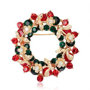 Рождественские Брошь для женщин Элегантный Красочные Стразы рождественские колокола Венок Снеговик Брошь Pin корсаж для Xmas Орнамент
