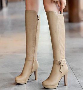 Plus size 34 to 40 41 42 43 sexy buckle knee high boots knight boots female luxury winter designer boots 3 colors Come With Box