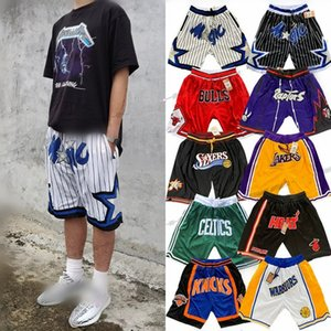Vintage Mens Basketball Shorts Authentic Team Pocket Hot Shorts Dwayne Wade 3 Sport Pantalons Gym Chicago