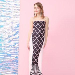 140 * 70cm cola de la sirena toallas de baño Negro Rosa color de la playa de fibra de bambú toalla Maiden camping del Adulto Yoga Mat 49kyE1