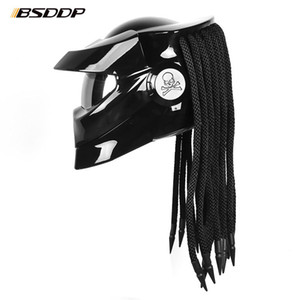 Predator Fibre Glass Moto Casque de moto Full Face Fer Fer Warrior Man Unique Style Flip Up Helmet Moto avec Spotlight LED
