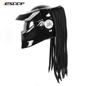 Casco de motocicletas de vidrio de fibra de depredador Casco de la cara de la cara de la cara de la cara de la cara de la cara de la cara de la cara de la cara de la cara plena del hilo de la moto del casco con el foco LED