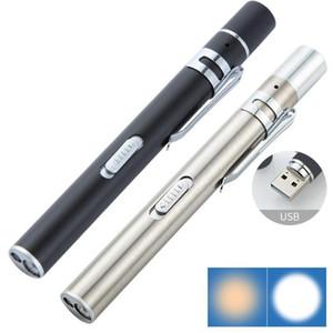 USB rechargeable Handy Pen Light Mini LED lampe torche infirmière avec clip en acier inoxydable de poche Led