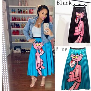 Cartoon Pink Leopard Print Pleated Skirt A-line Skirts