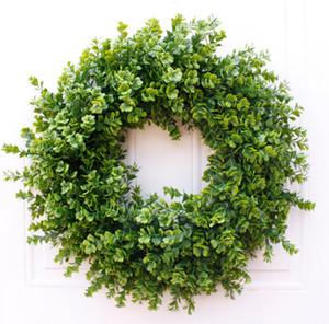 Puerta país granja decoración de la pared de la puerta de madera de boj guirnalda de hojas de la vid de la guirnalda Artificiales frontal de primavera y verano colgantes decoración verde