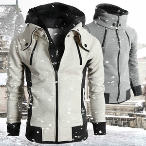 2019 Zipper Men Jackets Patchwork Autumn Winter Casual Fleece Coats Bomber Jacket Scarf Collar Fashion Hooded Male Outwear Slim Fit Hoody