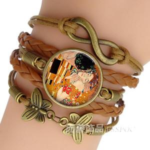 Gustav Klimt The Kiss Pulsera Pulseras hechas a mano Infinity Leather Charm Klimt Art Jewelry Valentine Gift