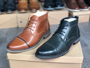 2020 Mens di lusso Designer stivali Vestito di pizzo-up Patry scarpe scarpe da sposa commerciali Martin caviglia stivali da uomo 100% vera pelle con scatola