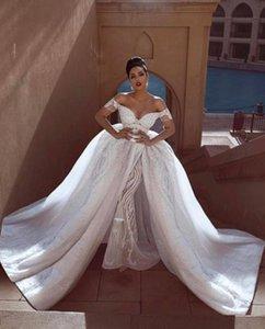Великолепные Русалка Свадебные Платья С Overskirts Свадебные Платья Спинки На Заказ Кружева Свадебное Платье Плюс Размер