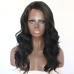 Yüksek Kalite Siyah Renk Isıya Dayanıklı Uzun Dalgalı Peruk Yan Kısmı 180% Yoğunluk Tutkalsız Sentetik Dantel Ön Peruk Siyah Kadınlar için Günlük Giyim