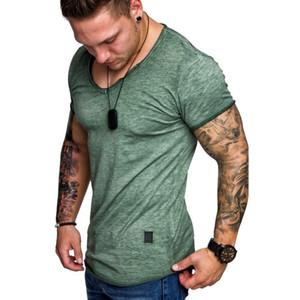 Mens конструктора Tshirts лето с коротким рукавом Повседневная топы Мода мужская V шеи Фитнес Спортивные футболки