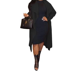 Diseñador para mujer suelta todas correspondan abrigos otoño invierno del color sólido de la solapa de cuello delgado Sobrepasa Las hembras forman la capa de cortavientos Trench
