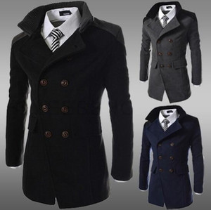 Mens Fashion Jackets Double Lapel Sided Long Stand Collar Outerwear Thick Winter Warm Gentlemen Coats