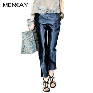 [menkay] 2018 Primavera Color sólido Satén Hasta el tobillo Pantalones Office Lady Side Split Cintura baja Elegante Pantalones de mujer Nuevo Y19071801