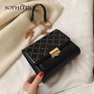 SOPHITINA Mulheres Moda Bolsas metal Cadeia Rivet lantejoulas decoração Buckle design de alta qualidade Flap sacos à moda Bolsas E25