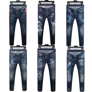 mens 2020 jeans robin design de luxe New Mode Hommes Jean rue Black Holes Designer White Stripes Jeans Hiphop Skateboard Pantalons Crayon