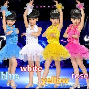 New Latin Dance Dress Children Performance Clothing Girls Tutu Skirt Costumes Dance Wear 4 color Free Shipping