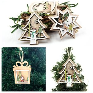 1PC DIY Colorful нескольких Тип Елочные Деревянные Подвески Украшения для рождественской вечеринке Xmas Tree висячие Детские Подарки украшения