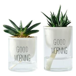 Sadelik Günaydın tembel saksı benzersiz seramik cam otomatik emme saksı hidroponik kendinden sulama ekici