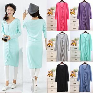Les femmes Manches longues pour femmes colorées rayures arc-en-V-cou Bouton Automne Tops Tricot Maille Pull Cardigans Manteaux