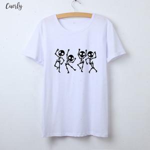 Hetuaf Skeleton Halloween T Shirt Women Skull Punk Rock Graphic Tee Shirt Femme Cool Woman Tshirt Kawaii Camisetas Mujer