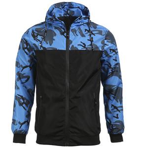 Coupe-vent Camo Veste homme camouflage Veste légère Zip-up manteau à capuche Homme Bomber Sweats à capuche Outwear militaire Slim Fit