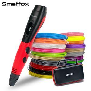 smaffox الأصلي 3D القلم مع 18 لونا 54 متر الأقلام خيوط طابعة 3D مع شاشة LCD الفنان رسم القلم صب