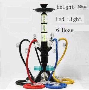 Round Hookah Shisha Bong Acrylic Pipe Set Smoking avec lampe LED cool céramique bol arabe Stem Outils d'huile silicone Rig 6 Tuyau haut de gamme