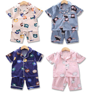 Toddler Baby Cartoon Pajamas 6 Colors Infant Shorts Sleeve Button Pyjamas Kids Clothes Girls Baby Clothes Teens Suits 060421