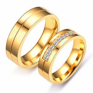 6mm Titanium Steel Simple Couple Gold Ring With Cz Diamonds Wedding Ring For Couple