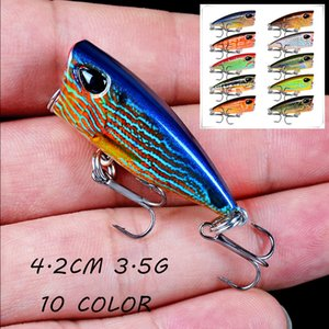 10 Color Popper Plastic Hard Baits & Lures 4.2CM 3.5G 10# Fishing Hooks Artificial Bait Pesca Fishing Tackle B14_133