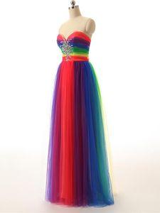 Colorful Rainbow Evening vestidos longos A Linha Tull Beading Prom Gown Sweetheart vestido formal