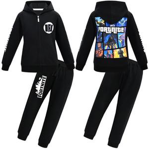 Leisure Suit-boy infantil Fortnite com capuz zipper jaqueta de moletom com capuz esportes bebê + calças-menino de 2 peças set Conjuntos Bebê Kids Clothing Clothing